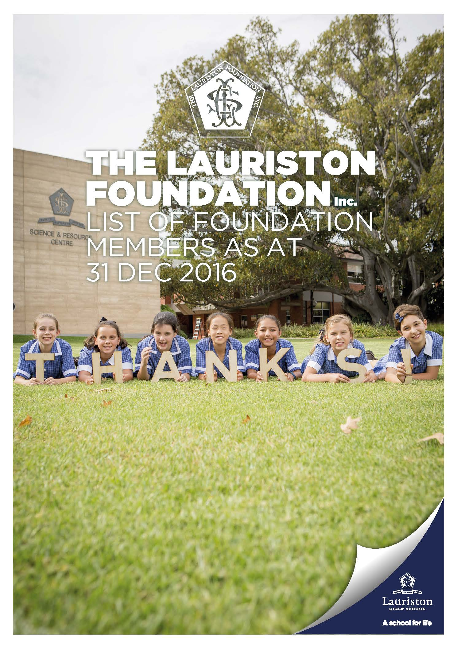 Lauriston Foundation Members Cover
